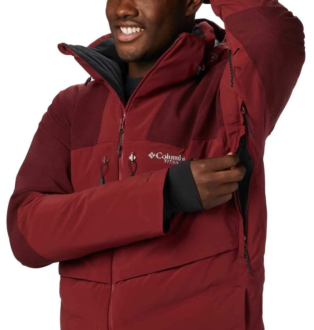 Men's Columbia Powder Keg II Down Jacket-Red Jasper Black ...