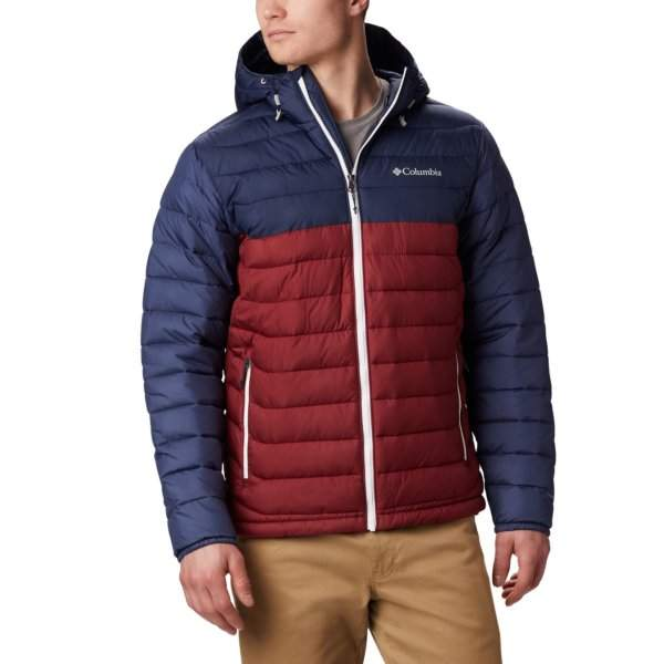 MEN'S COLUMBIA POWDER LITE HOODED JACKET Red Jasper Collegiate Navy