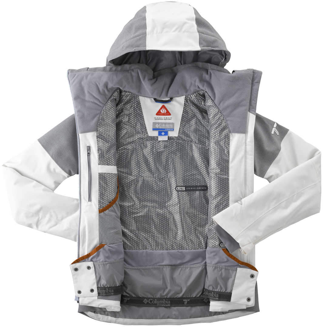 Women s Columbia POWDER KEG II DOWN Jacket-White Astral Heather Red Camelia c67277d6ddb
